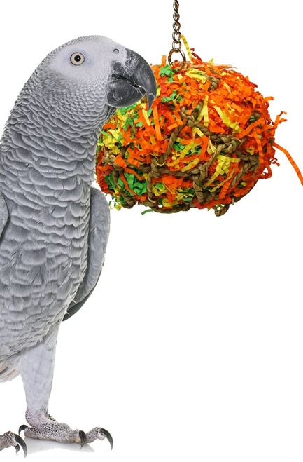 1890 Medium Calypso super shredder ball is just stuffed full of excitement, your large feathered friend will just love to attack this jute net ball which is stuffed full of colorful shredded paper and food colored dyed wooden beads, spools, blocks, buttons and much more.