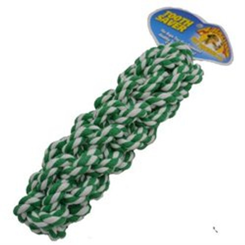 Tooth Saver Rope Toy is made of 100% cotton and is braided into a cylinder shape to make it more sturdy, so it will last through anything your dog put's it through. It is great for tug-o-war, or play fetch.