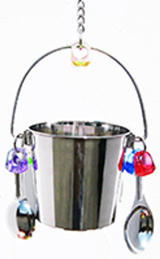 What is a tough indestructible stainless steel bucket bird toy?
