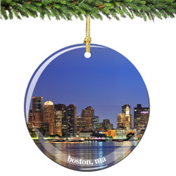 Porcelain Boston Christmas Ornament