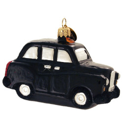 Glass London Taxi Cab Christmas Ornament