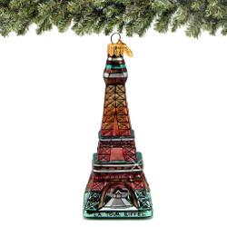 Glass Eiffel Tower Christmas Ornament