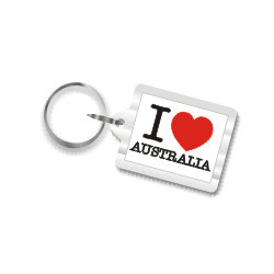I Love Australia Plastic Key Chain