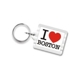 I Love Boston Plastic Key Chain