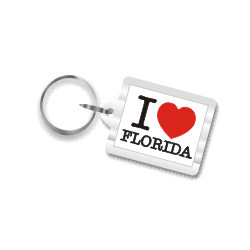 I Love Florida Plastic Key Chain