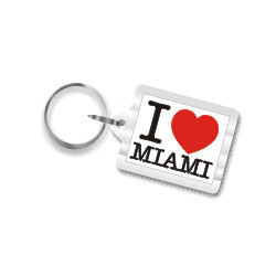 I Love Miami Plastic Key Chain