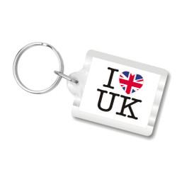 I Love U.K. Plastic Key Chain, I Heart UK