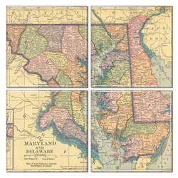 Maryland Map Coaster Set of 4