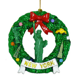 New York Wreath Statue of Liberty Christmas Ornament