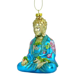 Glass Sitting Buddha Christmas Ornament