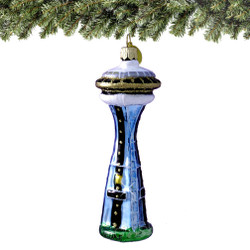 Seattle Space Needle Christmas Ornament Glass