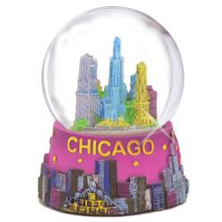 Colorful Chicago Snow Globe, Skyline