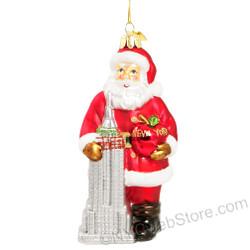 Santa & Empire State Building Glass Ornament
