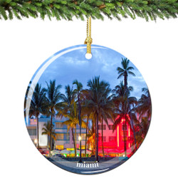 Miami Porcelain Christmas Ornament
