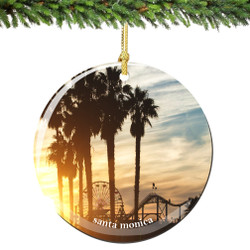 Santa Monica Christmas Ornament Porcelain