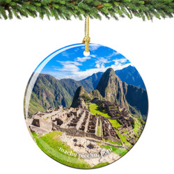 Machu Picchu Peru Christmas Ornament Porcelain