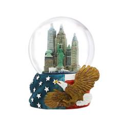 65mm Patriotic NYC Skyline Snow Globe