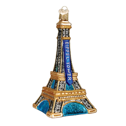 Golden Eiffel Tower Glass Ornament