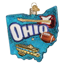 State Of Ohio Landmarks Glass Ornament