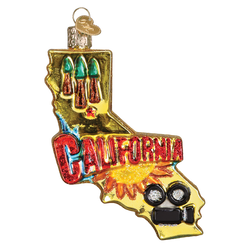 State Of California Landmarks Glass Ornament