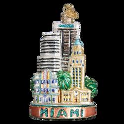 Miami Landmarks Glass Ornament
