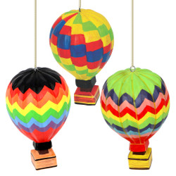 Hot Air Balloon Christmas Ornaments Set of 3