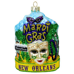 New Orleans Mardi Gras Glass Christmas Ornament