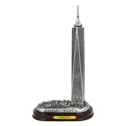 Silver Freedom Tower Model with Wooden Base 8 Inches