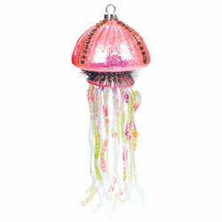 Glass Pink Jellyfish Christmas Ornament