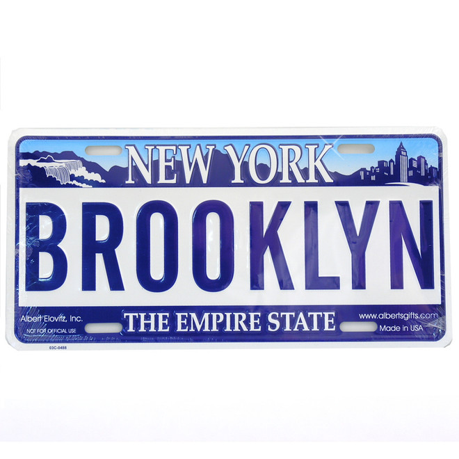 Brooklyn license plates, embossed tin