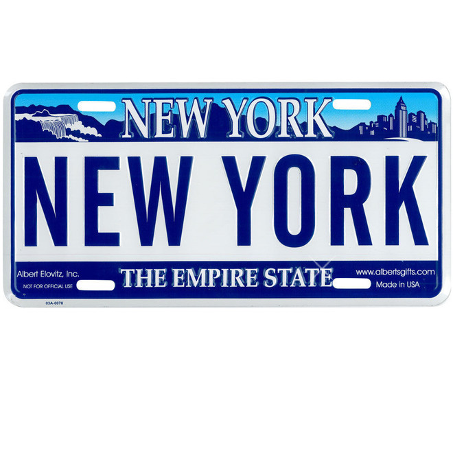 Embossed New York State License Plate, Legal Size