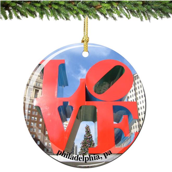 Porcelain LOVE Christmas Ornament