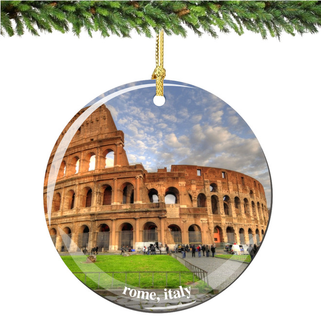 Italian Porcelain Rome Coliseum Christmas Ornament