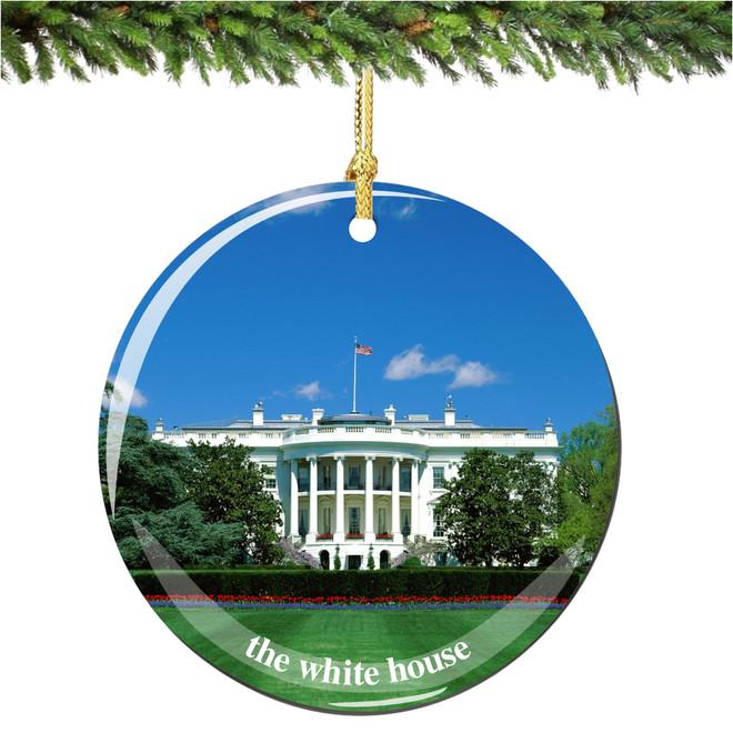 Porcelain Washington DC White House Christmas Ornament