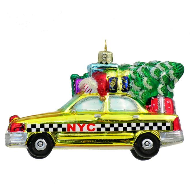 Glass NYC Taxi Christmas Ornament
