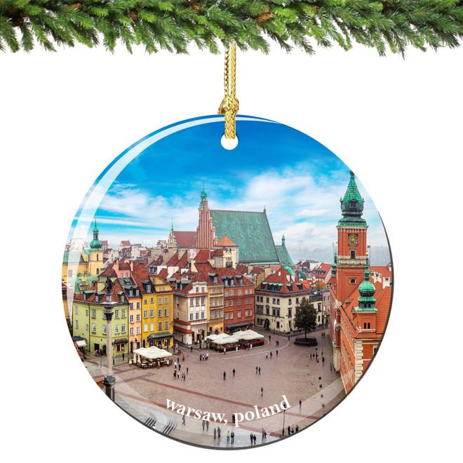 Warsaw Poland Christmas Ornament Porcelain