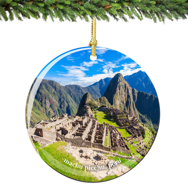 Machu Picchu Peru Christmas Ornament Porcelain
