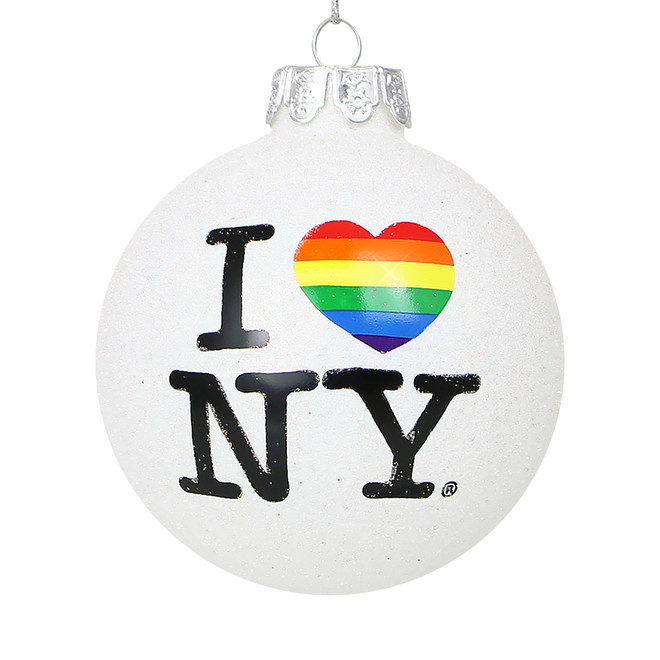Rainbow I Love NY Ornament, Glass Glitter