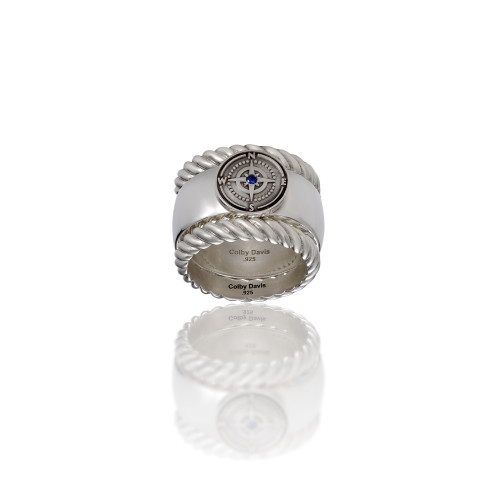Sterling Silver Rowe's Wharf Stackable Ring with Sapphire