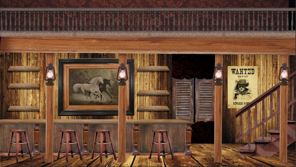 Wide Saloon Interior Backdrop