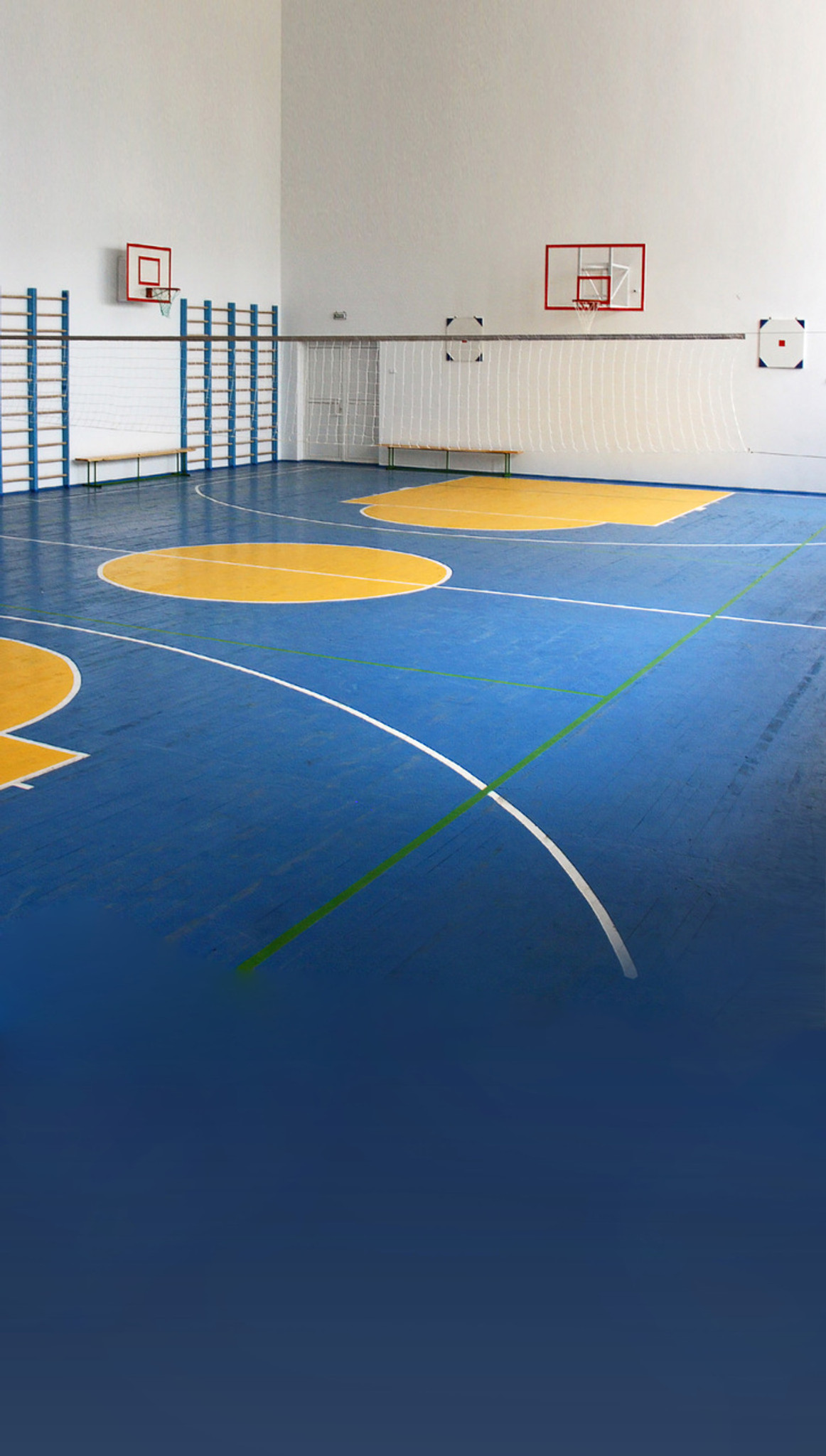 Blue basketball court backdrop photo pie for How wide is a basketball court