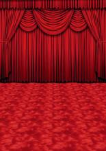 Crimson Curtains Backdrop