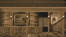 Wide Sepia Saloon Interior Backdrop