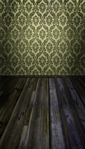 Acanthus Damask Room Backdrop-(Olive)