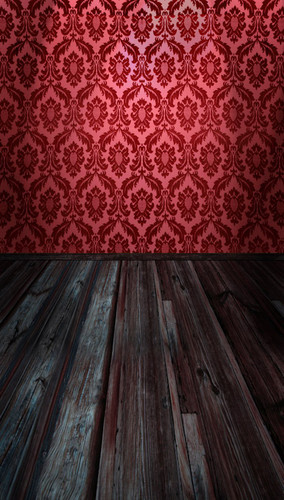 Acanthus Damask Room Backdrop-(Red)