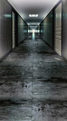 Dim Hotel Hallway Backdrop