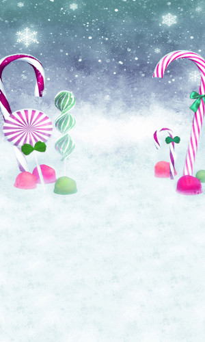 Candy Cane Snowfall Backdrop