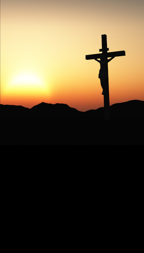Sunset Crucifixion Backdrop