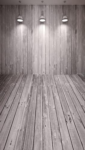 Spotlights on Wood Planks Backdrop