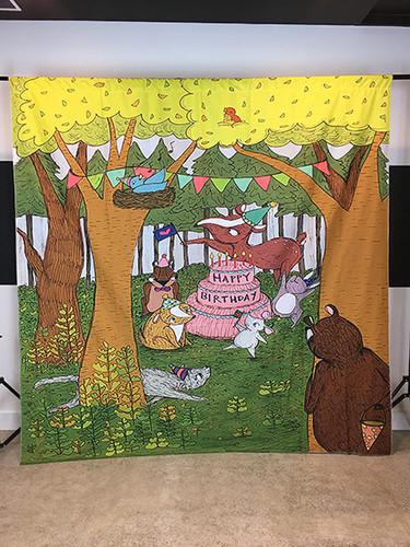 Happy Birthday Animals 8x8 PrismaCloth Backdrop